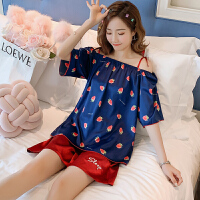 甜梦莱睡衣女夏季冰丝薄款蓝莓吊带性感两件套装夏天丝绸可爱学生家居服 ESY#854蓝草莓