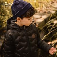 纯一良品童装冬装男童羽绒大衣中长款2018新款儿童连帽羽绒服外套
