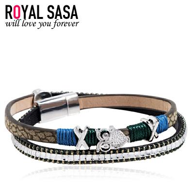 皇家莎莎手链项链两用女士日韩版PU皮手环皮绳时尚个性多层配饰品