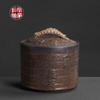 粗陶鎏金茶叶罐陶瓷密封罐家用半斤装散茶存茶罐大号装茶叶的罐子