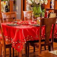 餐桌布艺 台布茶几桌旗绣花欧式田园 红色长方 结婚喜庆 红色喜庆桌布盖巾