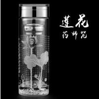 大悲咒双层玻璃杯带盖过滤茶杯药师咒男女士办公杯子泡茶水杯商务水晶保温杯