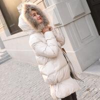 羽绒女中长款蓬蓬chic面包服加厚棉袄外套ins小个子棉衣冬季 米色 S