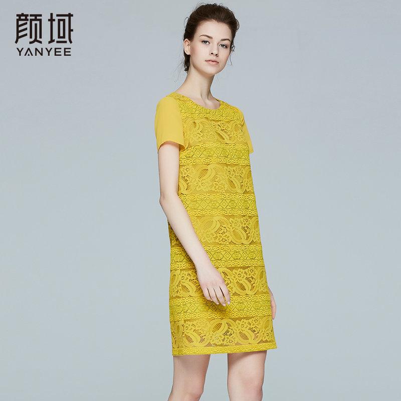 颜域品牌女装2017夏季新款OL知性优雅A字裙显瘦蕾丝连衣裙女夏股线蕾丝拼接 宽松版型