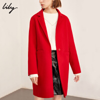 Lily春秋新款全羊毛中长款毛呢外套双面呢大衣