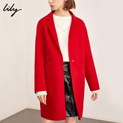 【不打烊价:587.7元】 Lily春秋新款全羊毛中长款毛呢外套双面呢大衣 过年不打烊!专区2件3折,新品3折起!