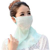 防晒披肩防晒口罩透气护颈棉薄女夏季UV蕾丝透气防尘