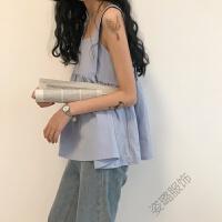 韩版夏装百搭宽松无袖方领纯色皱褶吊带上衣女学生背心潮 均码