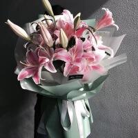 长沙鲜花速递同城福州厦门贵阳太原石庄南宁99朵玫瑰花束生日 粉嫩 21朵粉百合 不含花瓶