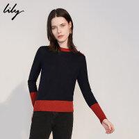 Lily春新款女装简约撞色拼接收腰修身毛针织衫118340B8637