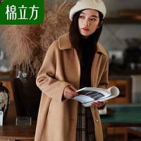 呢子大衣女中长款小个子冬2018新款棉立方流行赫本风秋冬毛呢外套