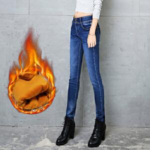 冬季加绒牛仔裤女松紧腰加厚带绒小脚裤弹力修身加棉长裤春秋女装裤子