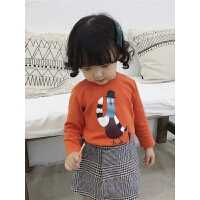 女童秋冬磨毛打底女宝宝卡通圆领套头衫婴儿上衣