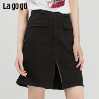 【新品5折价125】Lagogo2019夏季新款时尚黑色高腰a字裙显瘦牛仔半裙女IABB234C63