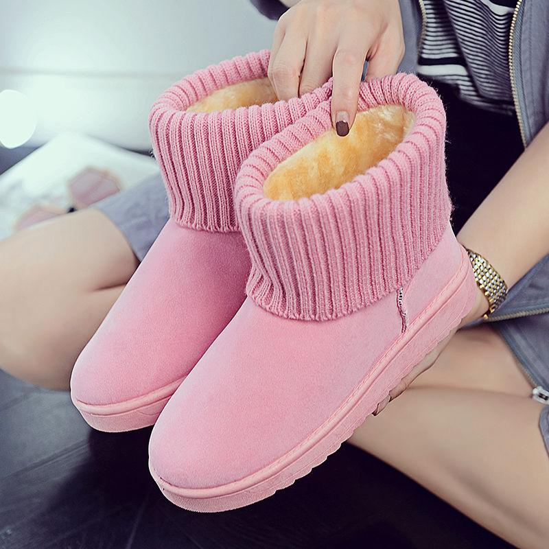 雪地靴女防滑棉鞋2019新款平底学生毛线棉靴子女加厚保暖短靴棉靴