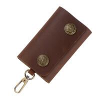 雪生手工牛皮钥匙包男大容量男士钥匙包女士真皮按扣钥匙包欧美潮