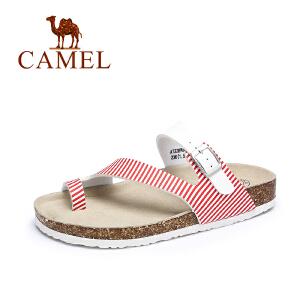 camel骆驼女鞋 夏季新款 休闲轻便PVC夹趾凉拖 女平底沙滩凉鞋