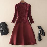 2018秋季新款时尚气质女装睫毛蕾丝拼接七分袖连衣裙子立领中长款 酒红色