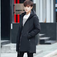 Y974-320男装冬季新款羽绒服保暖加厚外衣学生男中长款连帽外套