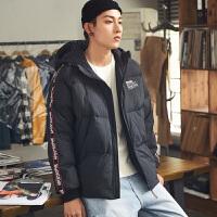 限时抢购价429唐狮羽绒服男短款冬新款串标织带连帽外套青少年韩版帅气潮流