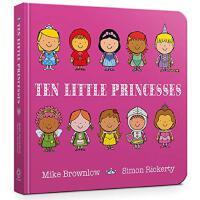 英文原版 十个小公主 数数启蒙 认知识物绘本 Ten Little Princesses Board Book 女孩绘本