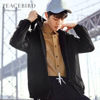 太平鸟男装 春季新款黑色冲锋衣潮薄款韩版连帽跑步夹克BWBC81404
