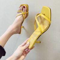 网红拖鞋女2019新款夏季时尚性感女士一字拖细跟高跟罗马凉拖鞋女