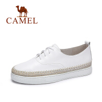 Camel/骆驼女鞋 春季新款 休闲简约系带厚底松糕鞋纯色小白鞋渔夫鞋