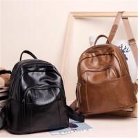 茉蒂菲莉 双肩包女 软皮女欧美简约时尚休闲新款包包大容量韩版百搭女士背包潮