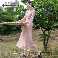 生活在左2019春夏季新款中袖羊毛连衣裙女长裙中长款