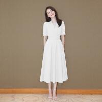 №【2019新款】白色衬衫连衣裙女高圆圆明星v领雪纺长裙小白裙修身礼服裙子