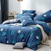 多喜爱新品床上四件套全棉纯棉套件时尚森系床单1.8m雨墨蓝宵