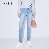 Amii[极简主义]2017夏装新款丹宁风休闲修身绣花牛仔长裤11733789