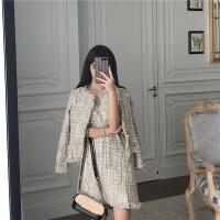 很仙的套装俏皮两件套法国小众气质小香风粗花呢外套+修身连衣裙