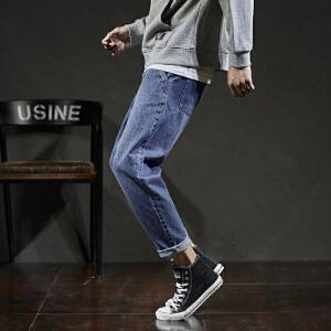 【2件3折价110.7元】唐狮春季新款牛仔裤男宽松哈伦牛仔