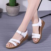 夏季韩版时尚平底学生凉鞋女士休闲平跟孕妇防滑软底妈妈凉鞋