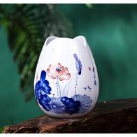 室内摆件青花瓷景德镇陶瓷器手绘青花瓷小花瓶水养富贵竹插花创意工艺品装饰摆件