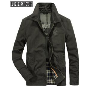 吉普Jeep翻领夹克男舒适纯棉保暖茄克衫户外休闲外套2018冬季新款