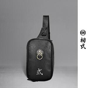 初�q中国风潮牌复古狮子头刺绣潮包斜跨休闲时尚男女胸包43112