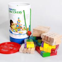 木制150粒大颗彩色桶装积木玩具 反斗城儿童堆搭积木益智教具