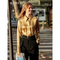 【品牌周到手价:455】Amii极简法式真丝chic衬衫女2019秋季新款桑蚕丝翻领洋气宽松上衣