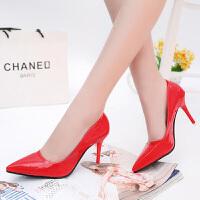 尖头细跟女鞋春秋新款高跟单鞋女士大小码高跟鞋红色婚鞋黑色OL工作鞋女