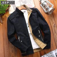 战地吉普立领双面夹克 双面休闲水洗纯棉外套 男装两面穿工装夹克衫