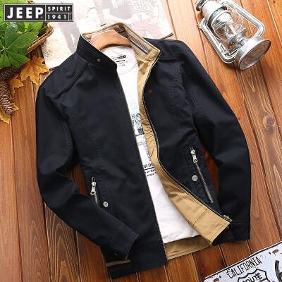 吉普Jeep立领双面夹克 双面休闲水洗纯棉外套 男装两面穿工装夹克衫双面穿立领夹克 大牌工艺,值得信赖