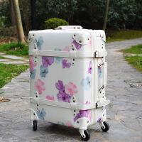 2018新款学生复古旅行箱登机箱防水耐磨日式樱花万向轮拉杆箱19寸 樱花