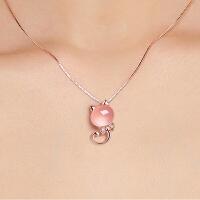 项链女生玫瑰金锁骨链简约小动物小猫咪水晶吊坠生日礼物