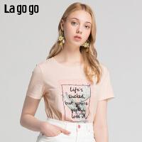 【新品5折价89】Lgogo/拉谷谷2019夏季新款钉珠贴补绣圆领短袖T恤女IATT314F07