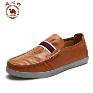 骆驼牌男鞋 春夏新款 日常休闲鞋 低帮套脚皮鞋 透气鞋