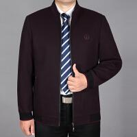 羊毛立领夹克衫秋冬装中老年外套男拉链口袋厚爸爸装毛呢中年男装 暗酒红 立领809款