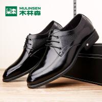 木林森男皮鞋 冬季新品男士商务休闲百搭皮鞋 系带皮鞋05367111